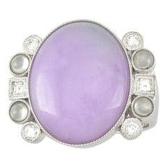 Certified Natural Lavender Jadeite Jade Designer Ring