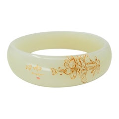 Certified Natural Nephrite White Jade Bangle with Gold Inlay, Flower Motif
