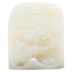 Certified Natural Nephrite White Jade Carving, Hetian Jade, Scenic Stature