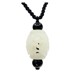 Certified Natural Nephrite White Jade Pendant, Well Hollowed, Detailed Carving