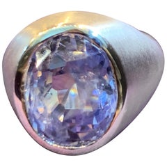 Certified Natural Oval Blue Sapphire Men's Ring