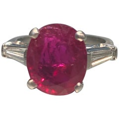 Certified Natural Oval Cut Ruby and Diamond Ring