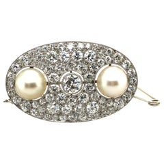 Certified Natural Pearl and Diamond Brooch in Platinum, ca. 1925