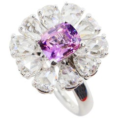Certified Natural Pink Purple No Heat Sapphire & Rose Cut Diamond Cocktail Ring