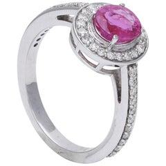 Certified Natural Pink Ruby Ring with Diamonds Set in 18 Karat White Gold