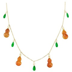 Certified Natural Red and Green Jade Designer Necklace
