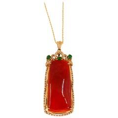 Certified Natural Red Jade, Diamonds, Imperial Green Jade Pendant Drop Necklace