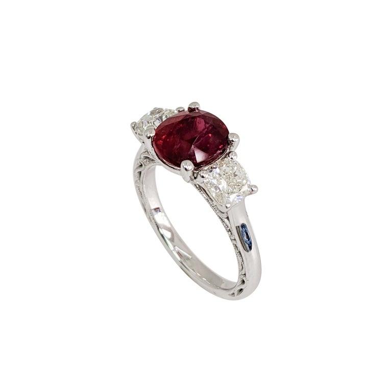 Certified Natural No-Heat Ruby. 3 Cushion Stones - 2 Diamonds, 1 Ruby. Platinum Ring  3.02ct Ruby  1.41ct Diamond