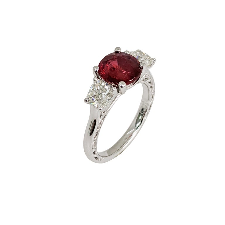 Artist Certified Natural Ruby (No Heat) 3 Cushion 'Diamond and Ruby' Platinum Ring For Sale