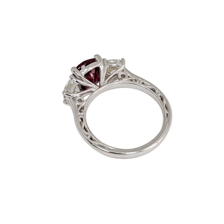 Cushion Cut Certified Natural Ruby (No Heat) 3 Cushion 'Diamond and Ruby' Platinum Ring For Sale