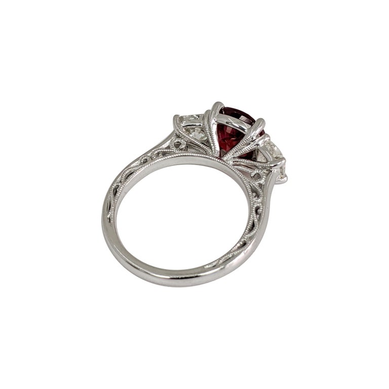 Certified Natural Ruby (No Heat) 3 Cushion 'Diamond and Ruby' Platinum Ring In Excellent Condition For Sale In Great Neck, NY