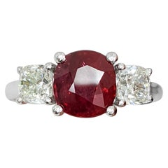 Certified Natural Ruby (No Heat) 3 Cushion 'Diamond and Ruby' Platinum Ring