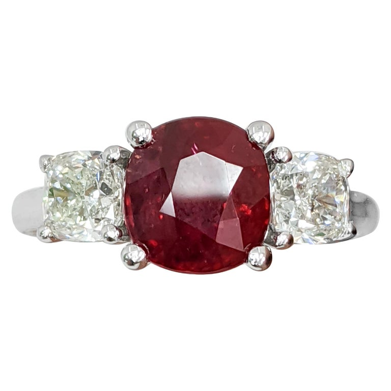Certified Natural Ruby (No Heat) 3 Cushion 'Diamond and Ruby' Platinum Ring For Sale