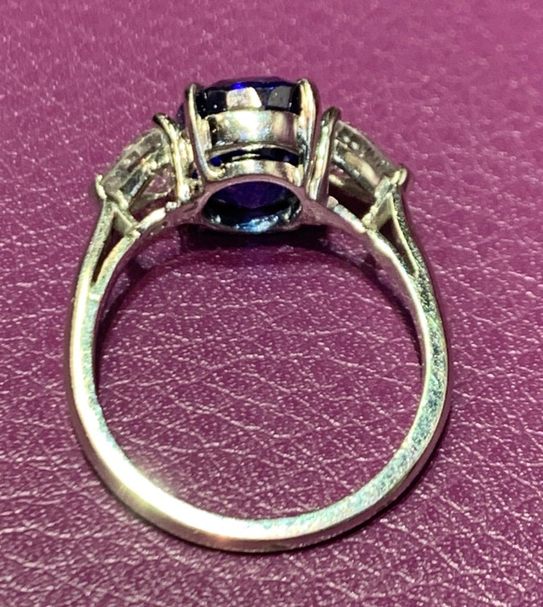 AGL Certified Natural Ceylon Sapphire and Diamond Three-Stone Ring In Excellent Condition In New York, NY