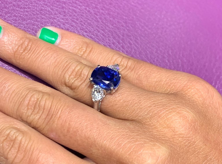 Women's AGL Certified Natural Ceylon Sapphire and Diamond Three-Stone Ring