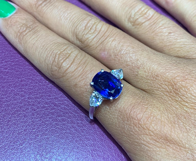 AGL Certified Natural Ceylon Sapphire and Diamond Three-Stone Ring 2