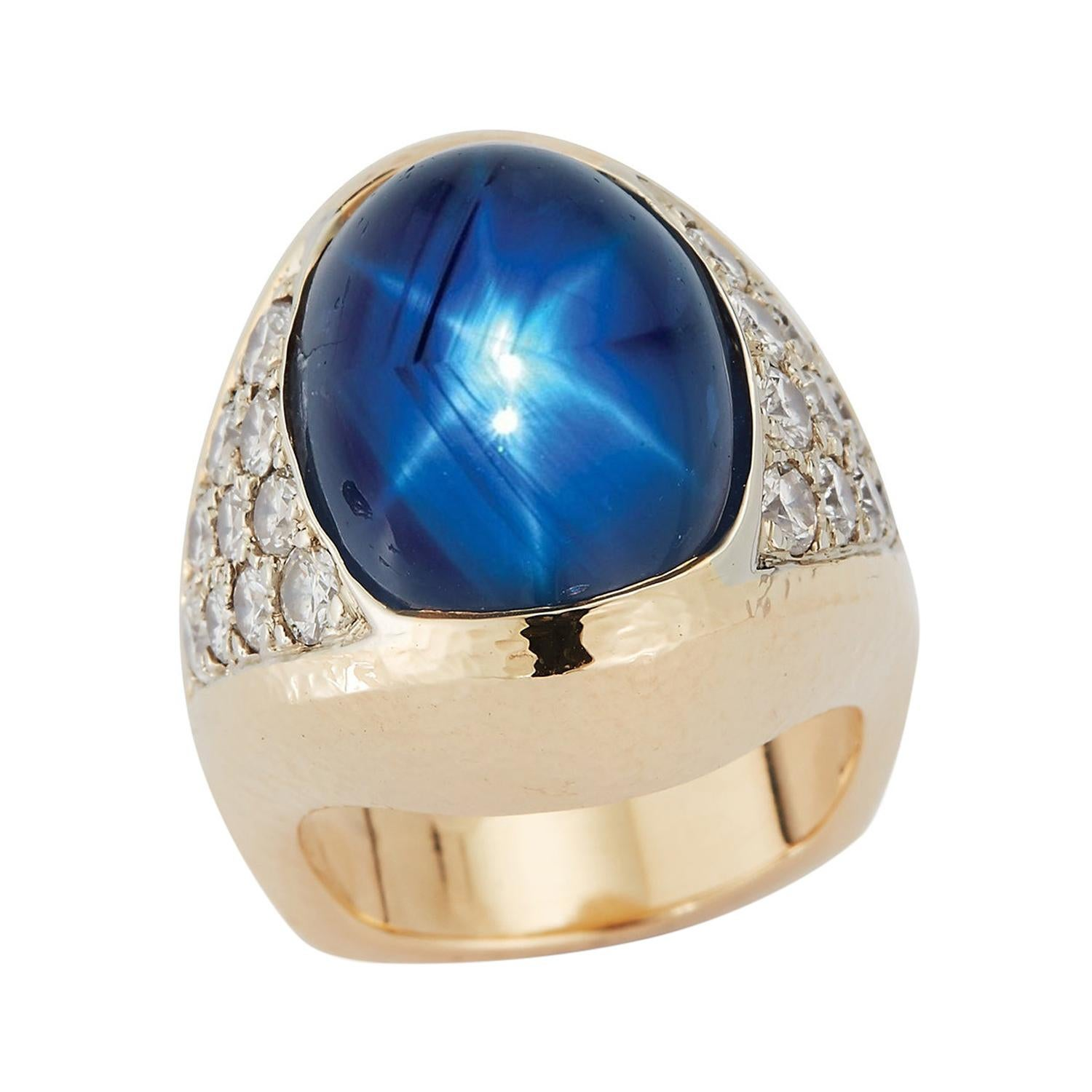 Certified Natural Star Sapphire Men's Ring by David Webb