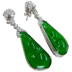 Certified Natural Type A Icy Peapod Jade Diamond Earrings, Intense Apple Green