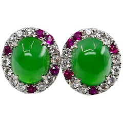Certified Natural Type A Jade, Ruby and Diamond Stud Earrings, Apple Green Color