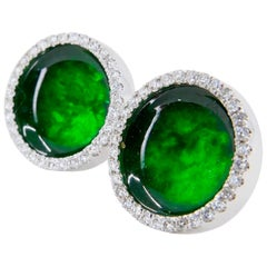 Certified Natural Type A Jadeite Jade and Diamond Earrings, Spinach Green