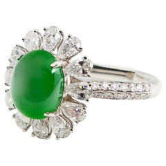 Certified Natural Type A Jadeite Jade & Diamond Cocktail Ring, Apple Green Color