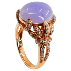 Certified Natural Type A Lavender Jadeite Jade Rose Gold Diamond Cocktail Ring