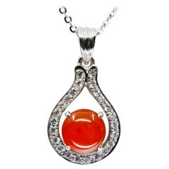 Certified Natural Type a Red Jade and Diamond Pendant Necklace, Lucky Horseshoe