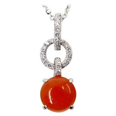 Certified Natural Type a Red Jade & Diamond Pendant Necklace, Interlinked Hoops