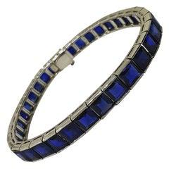 Incredible Certified Natural Unheated Sapphire 16.5 Karat Platinum Line Bracelet