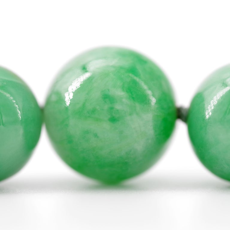 Certified Untreated Jade Necklace in Vivid Translucent Green For Sale 9