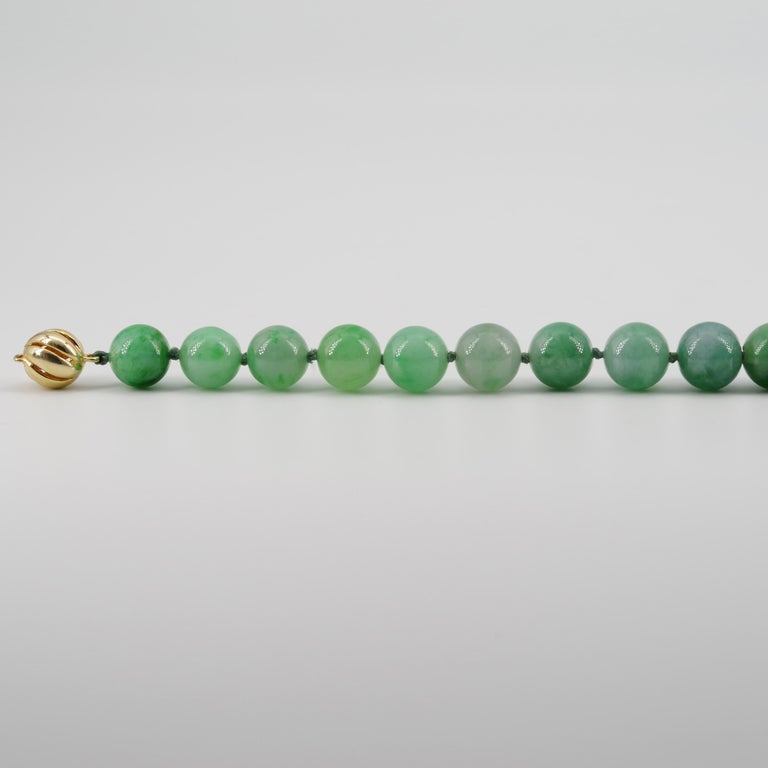 Certified Untreated Jade Necklace in Vivid Translucent Green For Sale 10