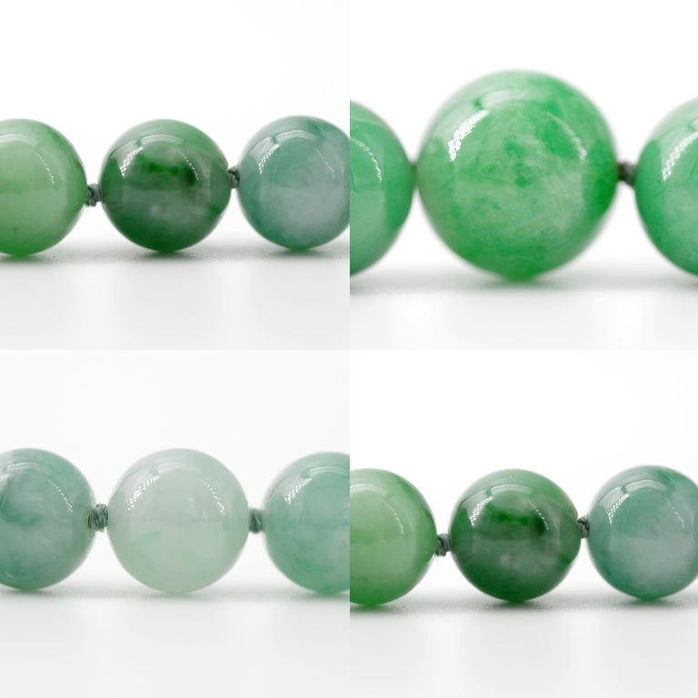 Certified Untreated Jade Necklace in Vivid Translucent Green For Sale 11