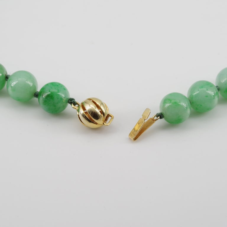 Certified Untreated Jade Necklace in Vivid Translucent Green For Sale 13