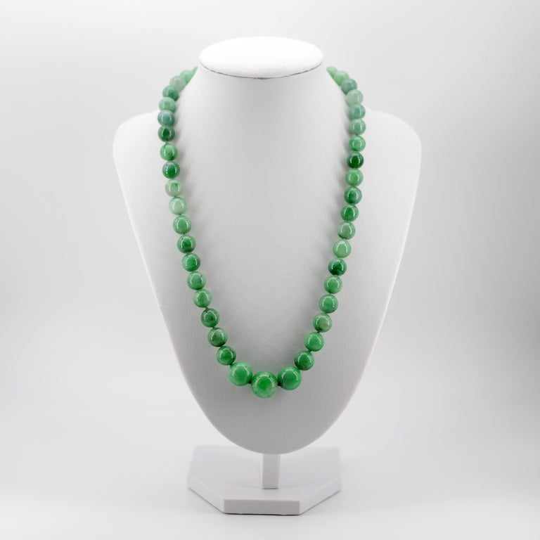 Women's or Men's Certified Untreated Jade Necklace in Vivid Translucent Green For Sale