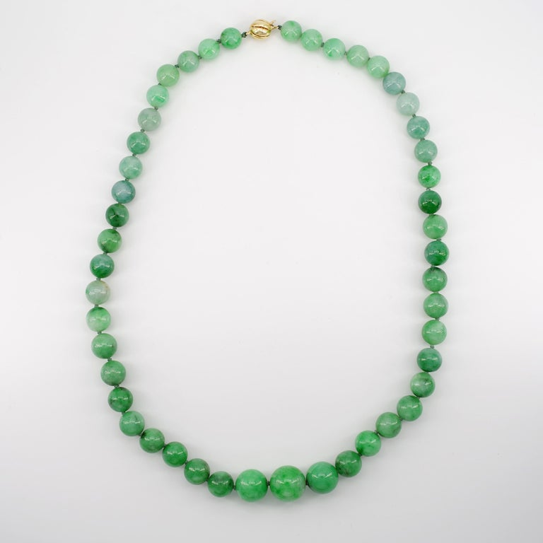 Modern Certified Natural & Untreated Jadeite Jade Necklace in Translucent Verdant Green For Sale