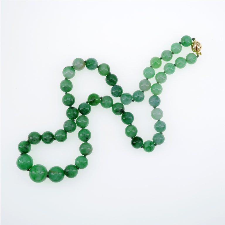 Certified Untreated Jade Necklace in Vivid Translucent Green For Sale 3
