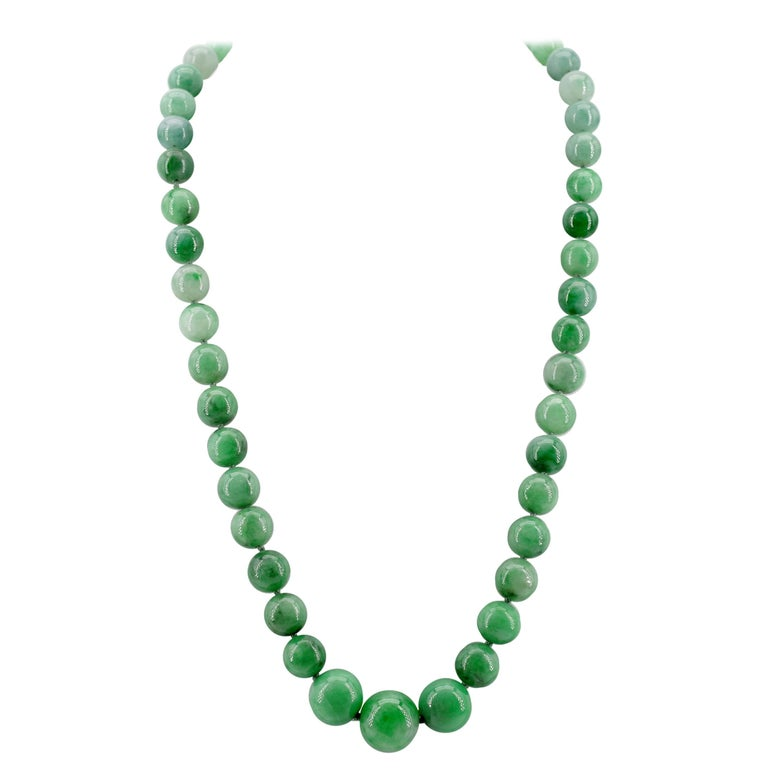 Certified Natural & Untreated Jadeite Jade Necklace in Translucent Verdant Green For Sale
