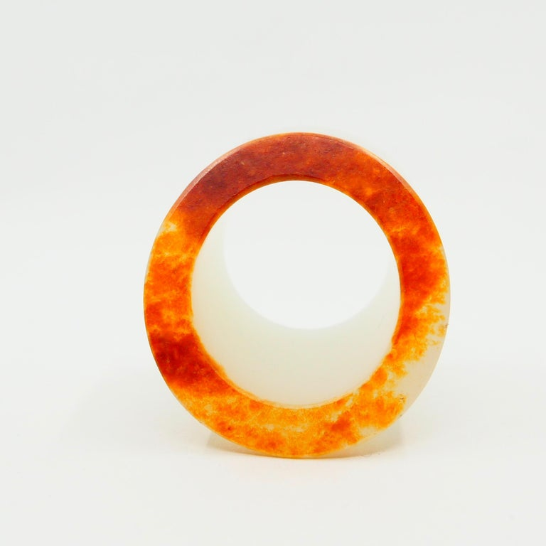 Contemporary Certified Nephrite Jade Archer's Thumb Ring by Master 于士榮, River Material For Sale