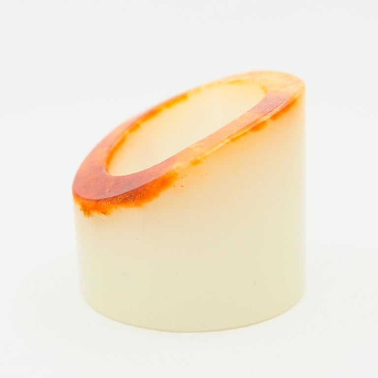 Certified Nephrite Jade Archer's Thumb Ring by Master 于士榮, River Material For Sale 1
