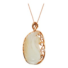Certified Nephrite White Hetian Jade & Diamond Necklace, 18 Karat Rose Gold Swan