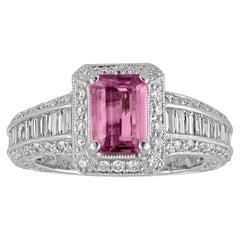 Certified No Heat 1.55 Carat Step Cut Pink Sapphire Diamond Gold Milgrain Ring