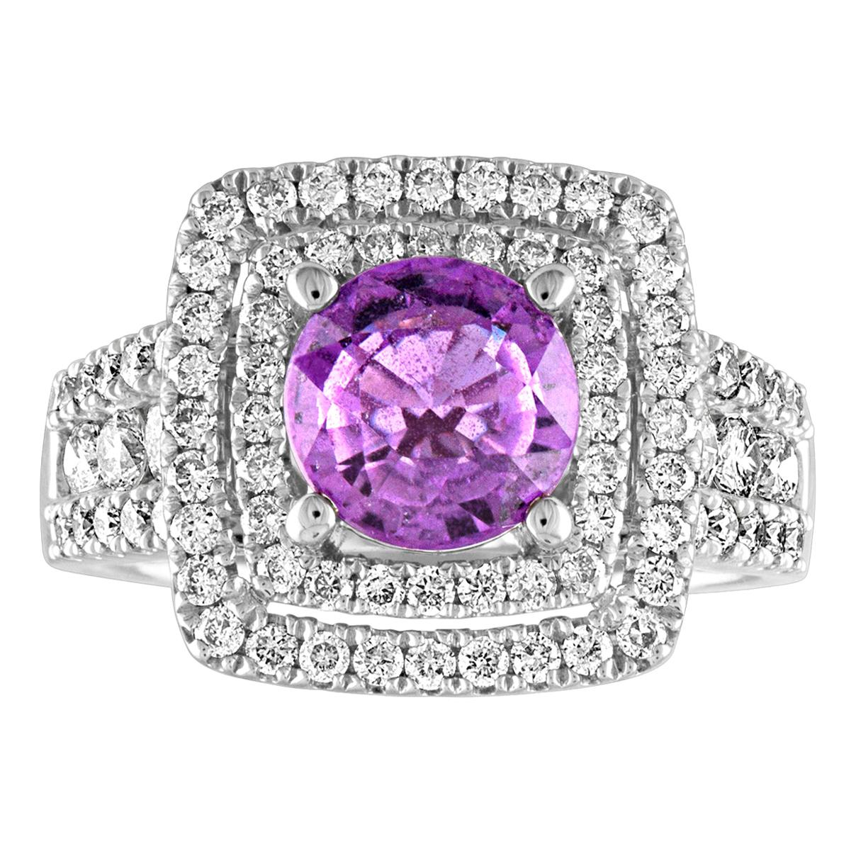Certified No Heat 1.97 Carat Pinkish Violet Sapphire Diamond Gold Ring