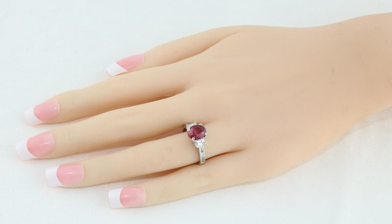 Oval Cut Certified No Heat 2.01 Carat Oval Ruby Diamond Three-Stone Gold Ring For Sale
