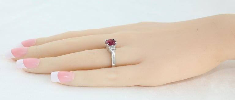 Women's Certified No Heat 2.01 Carat Oval Ruby Diamond Three-Stone Gold Ring For Sale