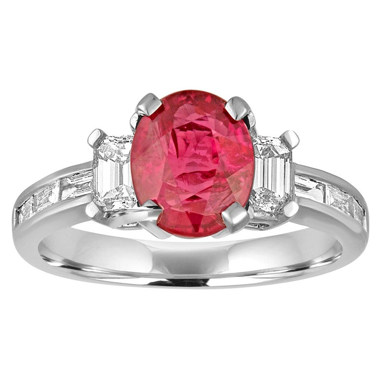 Certified No Heat 2.01 Carat Oval Ruby Diamond Three-Stone Gold Ring For Sale