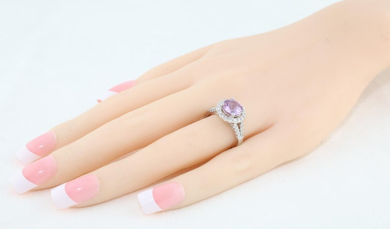 Certified No Heat 2.18 Carat Round Pink Sapphire Diamond Gold Ring In New Condition For Sale In New York, NY