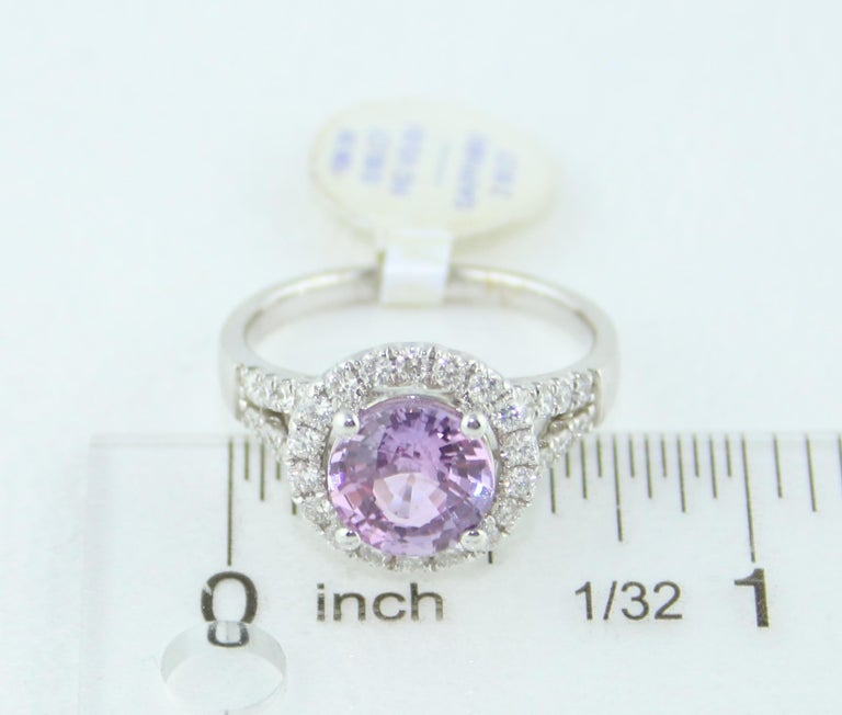 Certified No Heat 2.18 Carat Round Pink Sapphire Diamond Gold Ring For Sale 3
