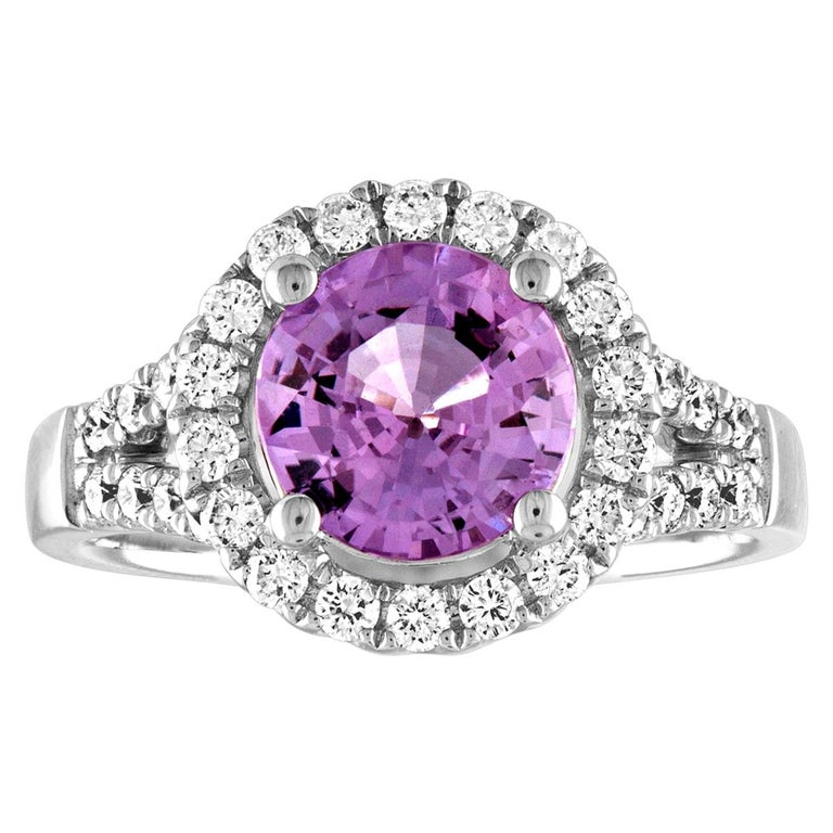 Certified No Heat 2.18 Carat Round Pink Sapphire Diamond Gold Ring For Sale