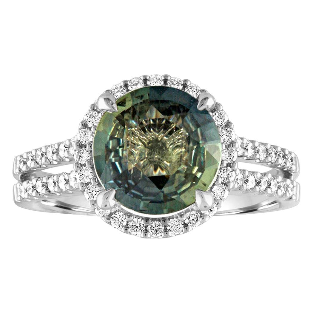 Certified No Heat 2.56 Carat Bluish Green Sapphire Diamond Gold Ring
