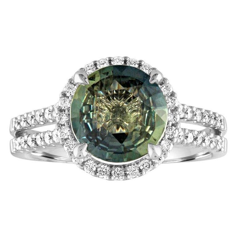 Certified No Heat 2.56 Carat Bluish Green Sapphire Diamond Gold Ring For Sale